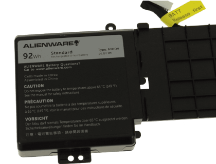 6JHDV Battery Compatible Dell Alienware 17 R2 5046J P43F Series, Fits P/N 6JHDV (14.8V 92WH)